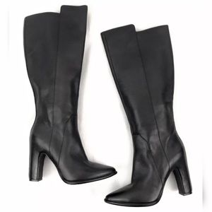 Kenneth Cole black leather knee high boots